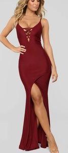 Lace up Maxi Dress-Burgundy